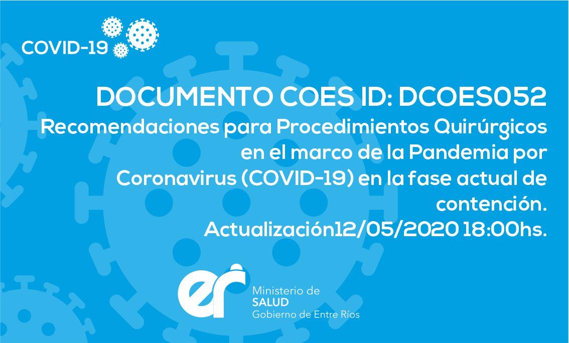 DCOES052 Recomendaciones para Procedimientos Quirúrgicos