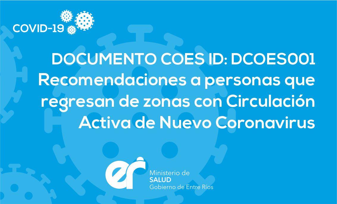 DCOES001 Recomendaciones a personas que regresan de zonas con circulación activa del Nuevo Coronavirus