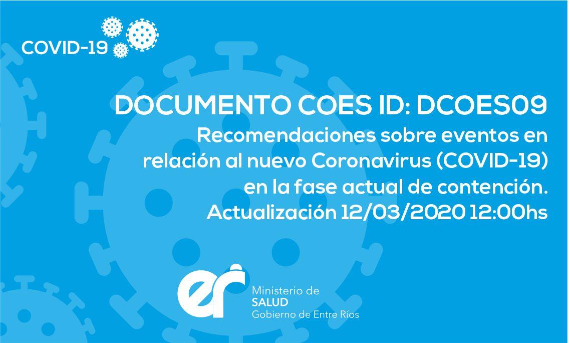 DCOES009 Recomendaciones sobre eventos en relación al nuevo Coronavirus (COVID-19) en la fase actual de contención. Actualización 12/03/2020 12:00hs