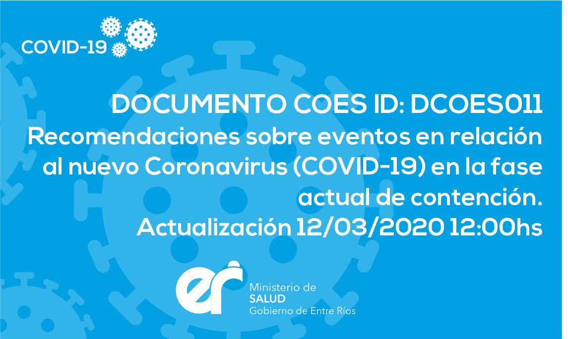 DCOES011 Recomendaciones sobre eventos en relación al nuevo Coronavirus (COVID-19) en la fase actual de contención. Actualización 12/03/2020 12:00hs