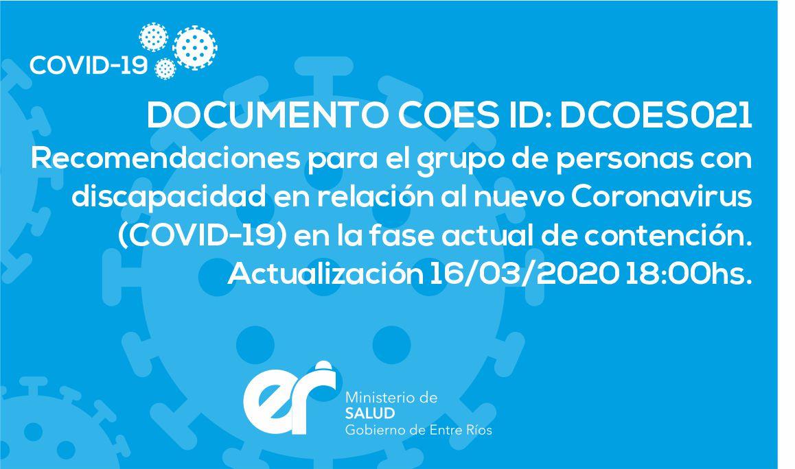 DCOES021 Recomendaciones para el grupo de personas con discapacidad en relación al nuevo Coronavirus (COVID-19) en la fase actual de contención. 16/03/2020 18:00hs.