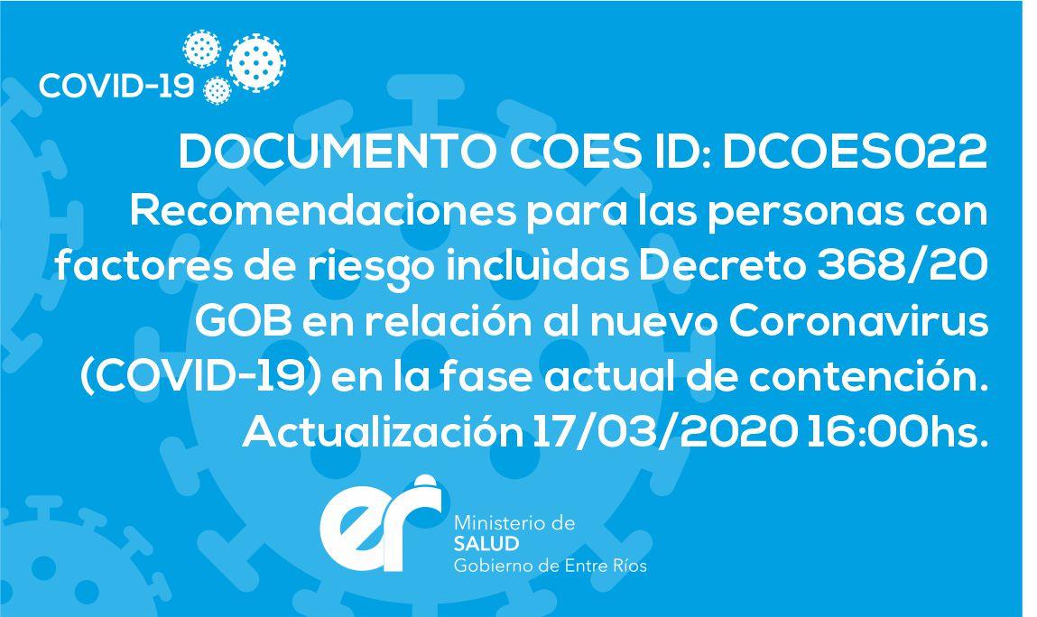 DCOES022 Recomendaciones para las personas con factores de riesgo. 17/03/2020 16:00hs.