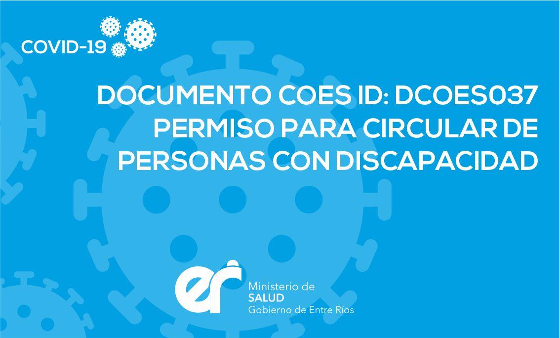 DCOES037 Permiso para circular de personas con discapacidad