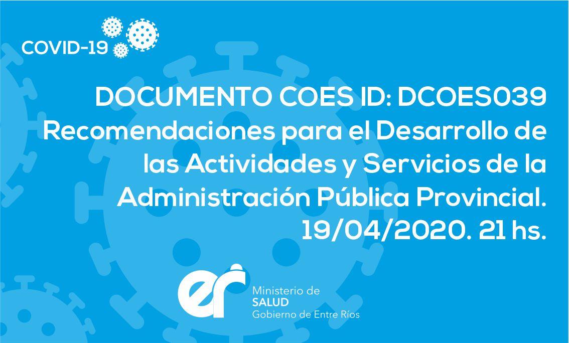 DCOES039 Recomendaciones para el Desarrollo de las Actividades y Servicios de la Administración Pública Provincial.
