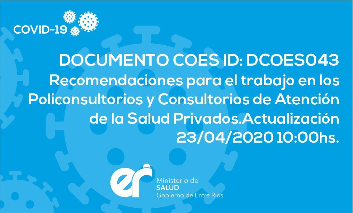 DCOES043 Recomendaciones para el trabajo en los Policonsultorios y Consultorios de Atención de la Salud Privados.