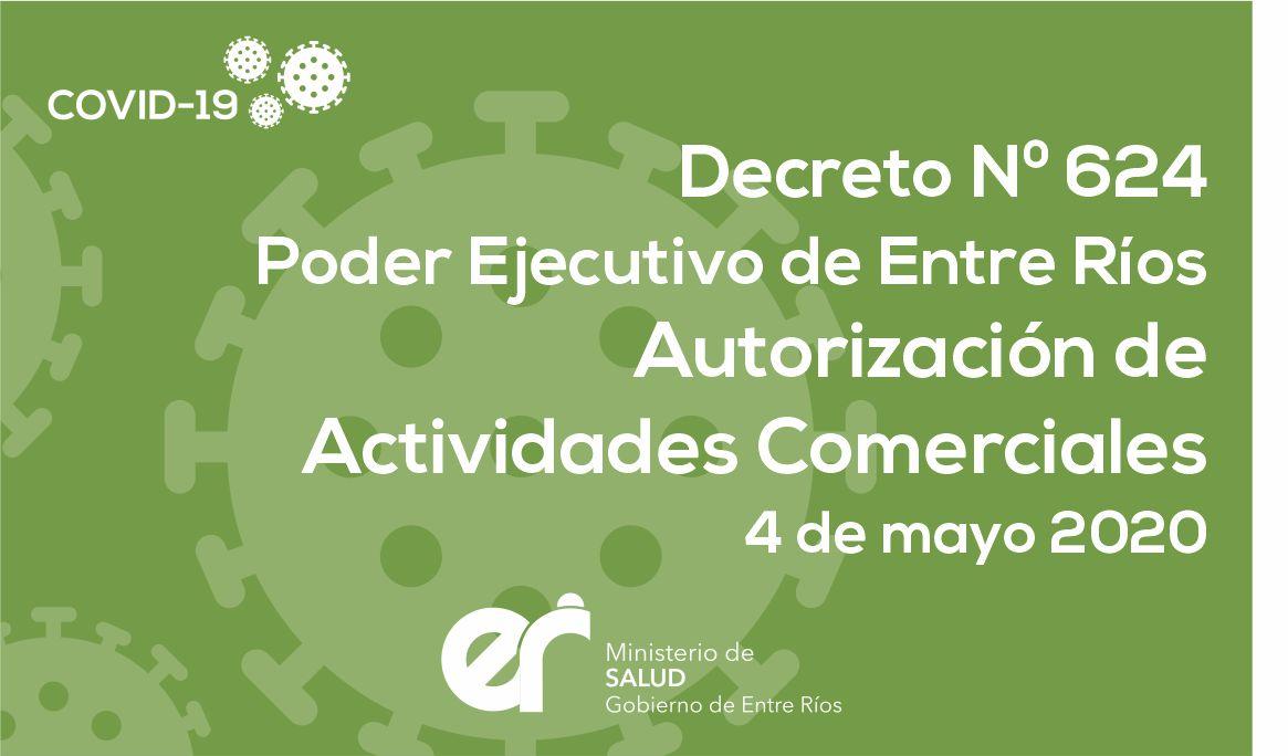 Decreto N°624 ER Autorización de Actividades Comerciales 4/5/2020