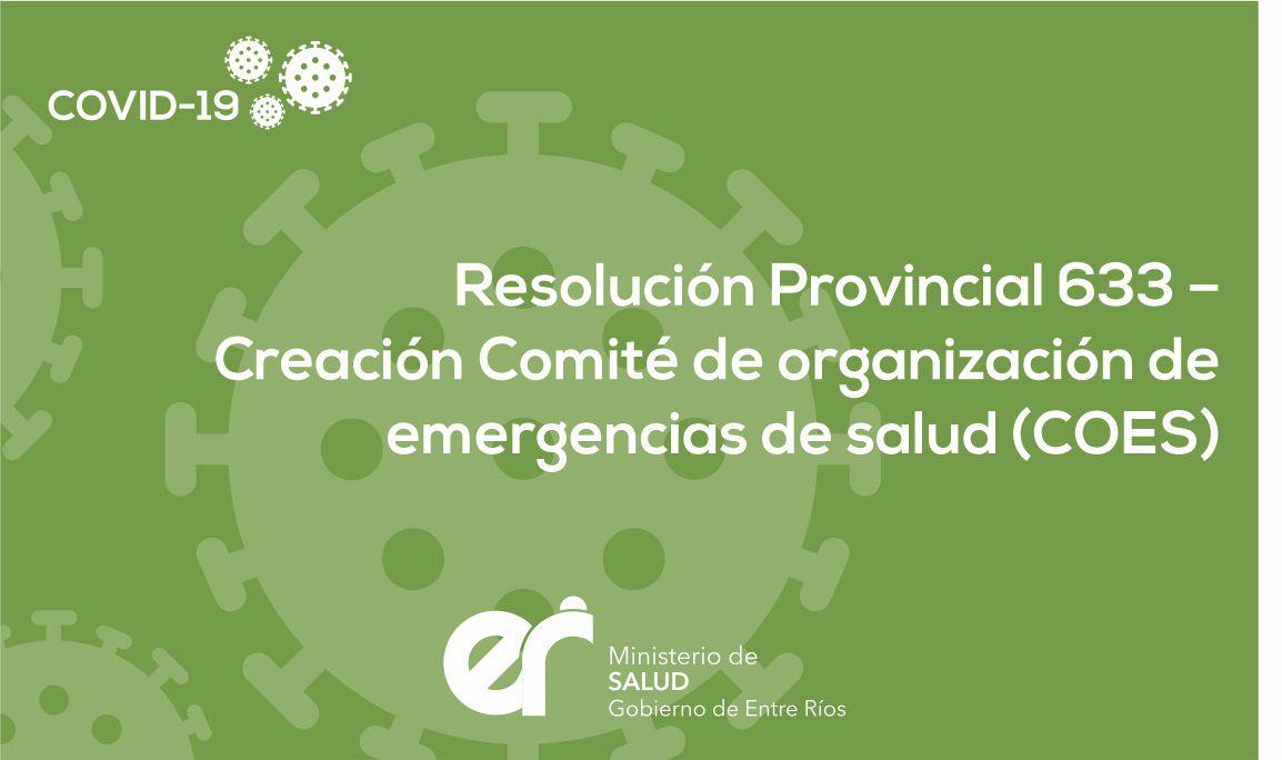 Resolución Provincial 633 Creación del COES