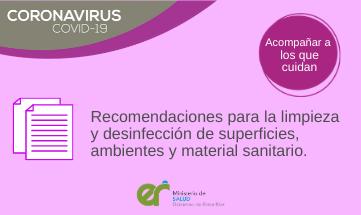 Recomendaciones limpieza y desinfección