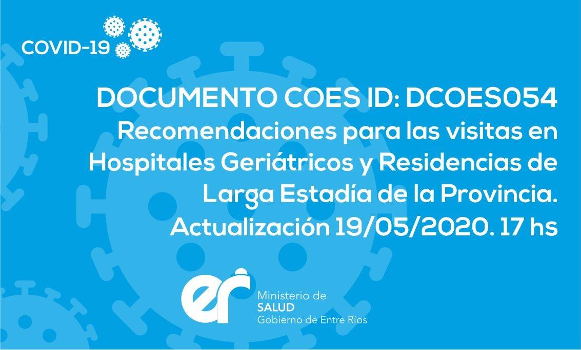DCOES054: Recomendaciones para las visitas en Hospitales Geriátricos y Residencias de Larga Estadía de la Provincia