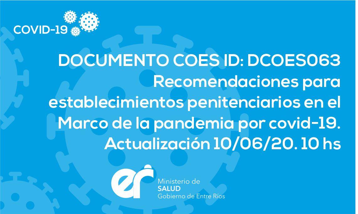 DCOES063: Recomendaciones para establecimientos penitenciarios en el Marco de la pandemia por covid-19. Actualización 10/06/20. 10 hs