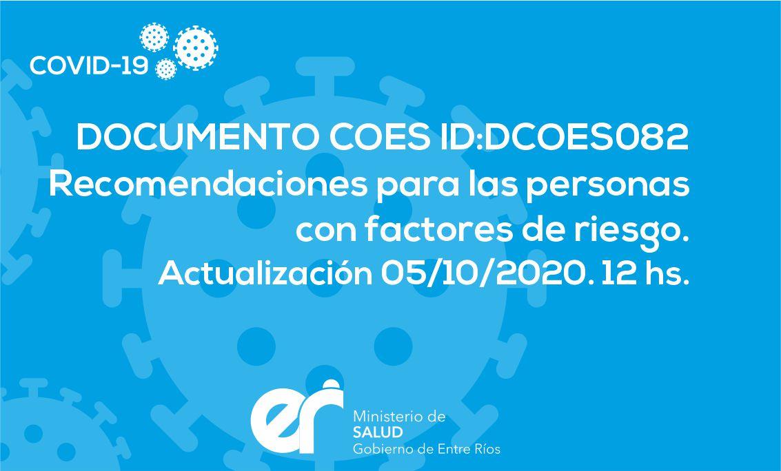 DCOES082: Recomendaciones para las personas con factores de riesgo. Actualización 05/10/2020. 12