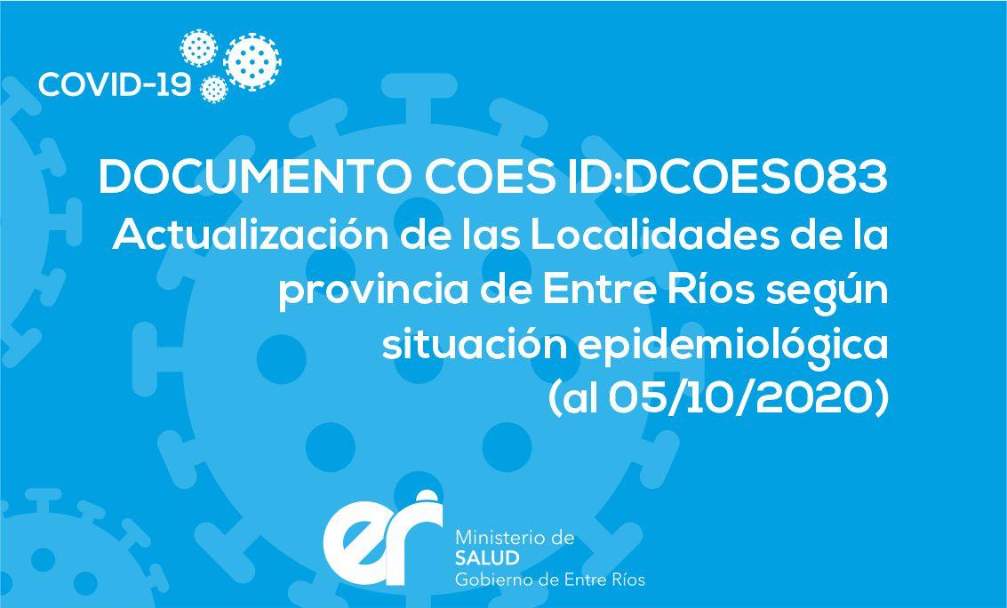 DCOES083: Actualización de las localidades de la Provincia de Entre Ríos según situación epidemiológica (05/10/2020)