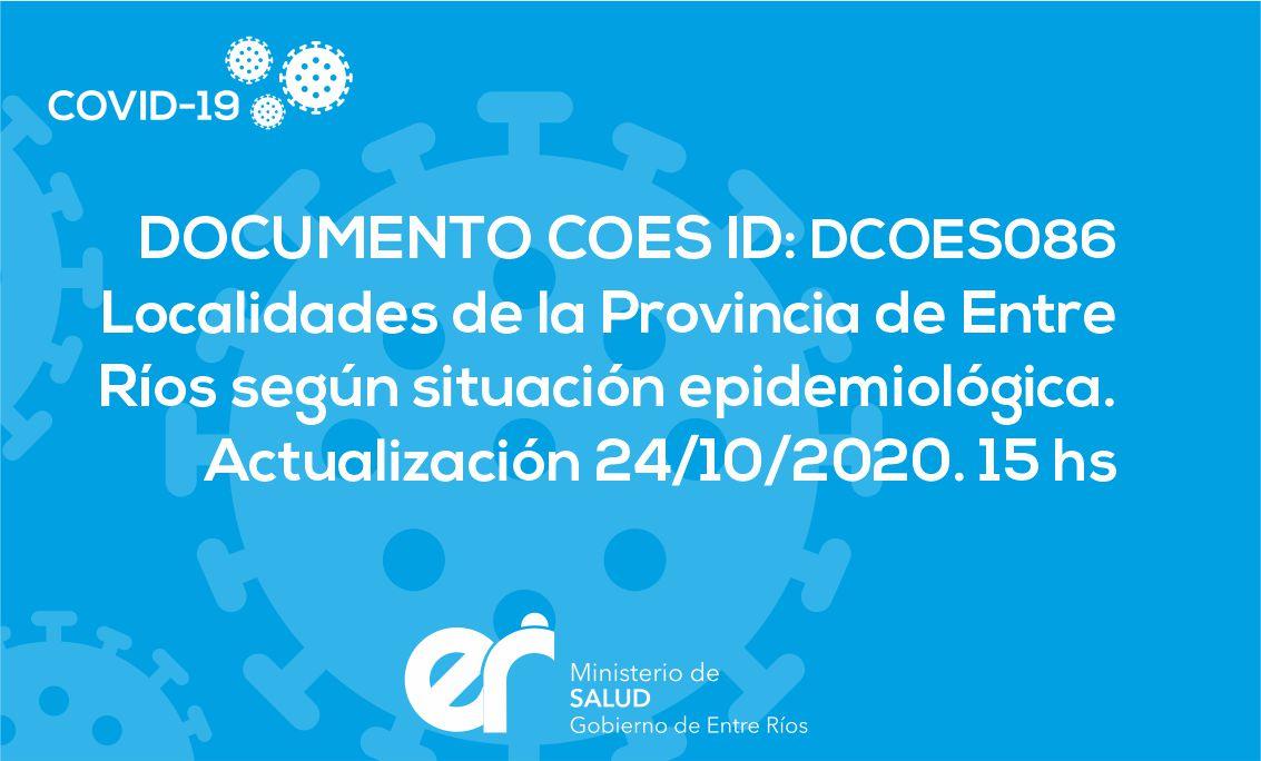 DCOES086: Localidades de la Provincia de Entre Ríos según situación epidemiológica (al 24/10/2020)