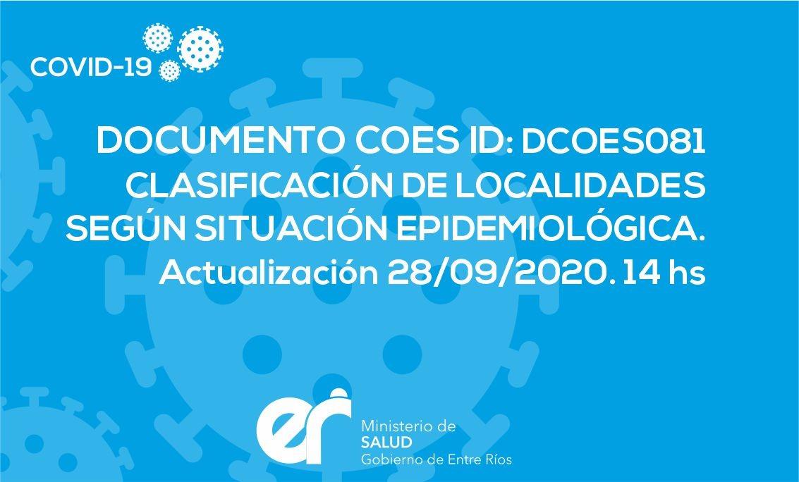 DCOES081 Clasificación de Localidades según Situación Epidemiológica. Actualización 28/09/2020. 14 Hs