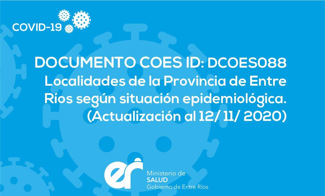 DCOES088 Localidades de la Provincia de Entre Ríos según situación epidemiológica (Actualización al 12/11/2020)