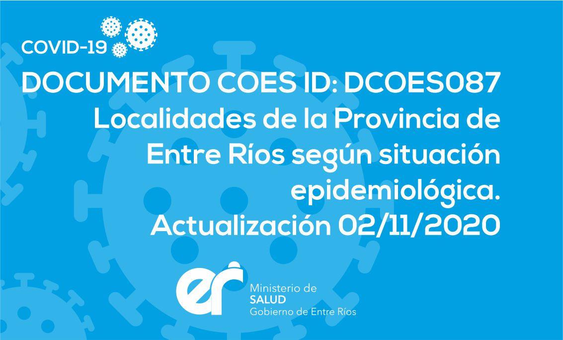 DCOES087: Localidades de la Provincia de Entre Ríos según  situación Epidemiológica . Actualización 02/11/2020. 16 hs