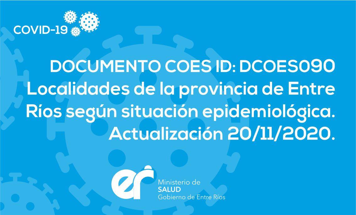 DCOES090: Localidades de la Provincia de Entre Ríos Según Situación Epidemiológica Actualización al 20/11/2020