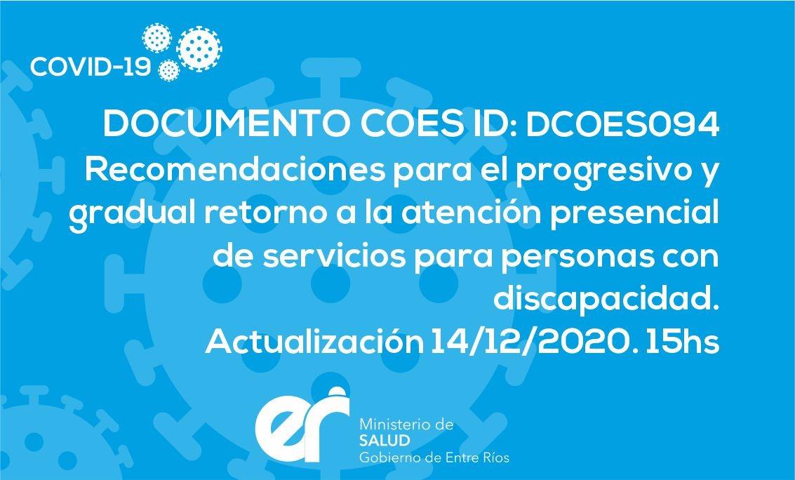 DCOES094: Recomendaciones para el Progresivo y Gradual Retorno a  la Atención Presencial de Servicios para Personas con Discapacidad. Actualización 14/12/2020. 15 hs
