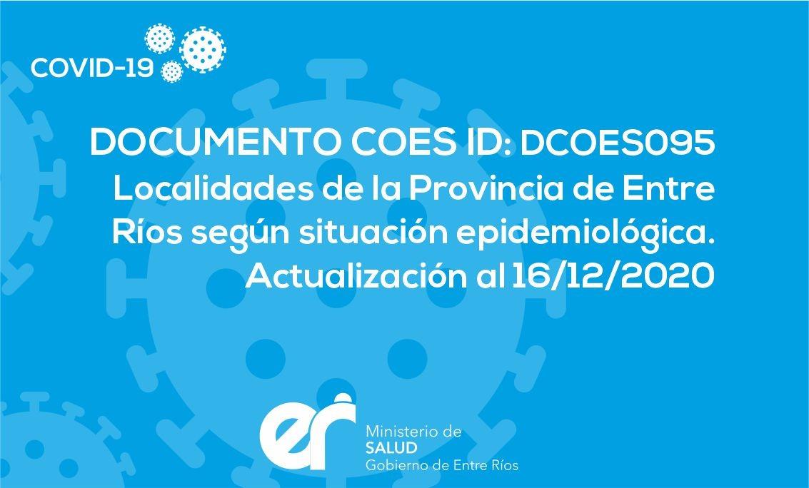 Localidades de la Provincia de Entre ríos según situación epidemiológica. Actualización al 16/12/2020