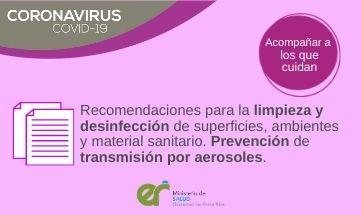 Recomendaciones para la limpieza y desinfección de superficies, ambientes y material sanitario. Prevención de transmisión por aerosoles.